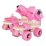 tofree Kinder Zwei Linien Rollschuhe Zweireihig 4Wheel Skating Schuhe Frei Größe Schiebetür Inline Pink Rosa Rose
