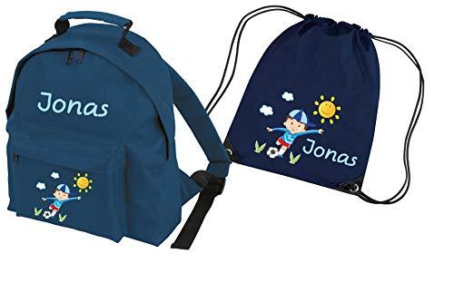 Mein Zwergenland Set 2 Kindergartenrucksack Classic und Turnbeutel mit Name Junge, 2-teilig, Navy