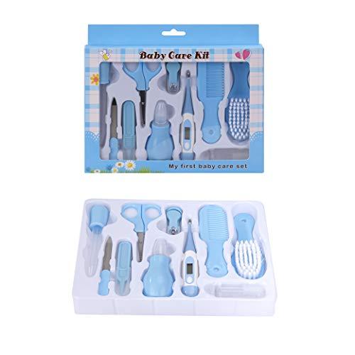 Babypflege-Set Baby 10 Pcs Grooming Healthcare kit mit Thermometer Maniküre Set Baby Nagelpflege Baby Haarbürste für Neugeborene Kleinkind Blau
