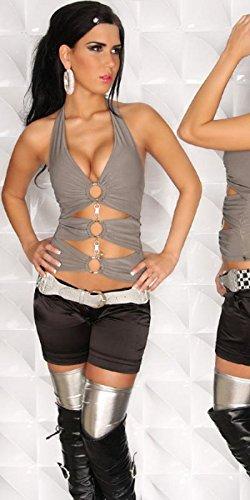 Sexy à nouer dans le cou pour femme avec anneaux et strass koucla by in-stylefashion sKU 0000SPR01 Grau