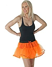 Crazy Chick Women's 4 Layer Orange Tutu Skirts Hen Night Party Halloween Dance Costume