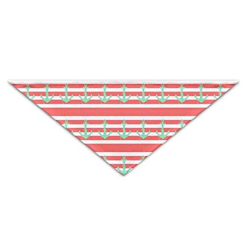 (Hectwya Rosa gestreifter Ozean-Piraten-Anker-Hundebandanas-Schals-Dreieck-Lätzchen Schals Entwurfs-grundlegende Halstuch-Katzen-Halsbänder)