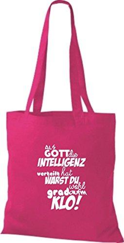 ShirtInStyle Stoffbeutel Baumwolltasche Als Gott die Intelligenz verteilt... KLO! Farbe Pink pink