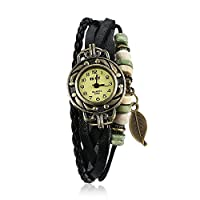 Lekima Vintage Fashion Watch Bronze Color Case Pendant Leaf Anologue Quartz Multilayer Braided Leather Strap Wristwatch Gift For Girls Lady Women - Black