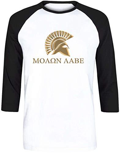 Molon Labe-Spartan Warrior Unisex Herren Damen Weiß Baseball T-Shirt 3/4 Ärmel | Unisex Men's Women's Baseball T-Shirt (300 Krieg Spartan)
