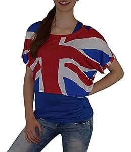 S&LU absolut angesagtes 2-teiliges Damen UK-Fan-Flagtop Größe XS-L (blau, XS-L)