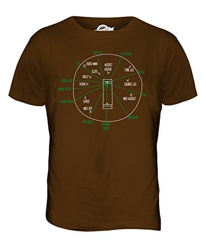 CandyMix Cricket Posizioni Per I Fielder T-Shirt da Uomo Maglietta Marrone