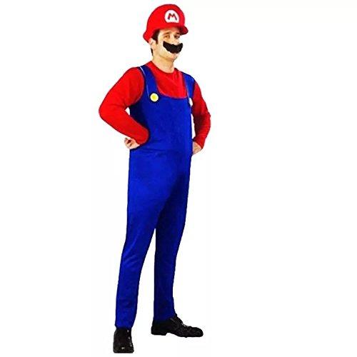 thematys Super Mario Luigi Mütze + Hose + Bart - Kostüm-Set für Erwachsene - perfekt für Fasching, Karneval & Cosplay (M, 165-175cm Körpergröße)