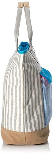 Adelheid Glück ahoi Klappentasche 11161216318 Damen Henkeltaschen 48x36x16 cm (B x H x T) Mehrfarbig (mausgrau wollweiss streifen 990)