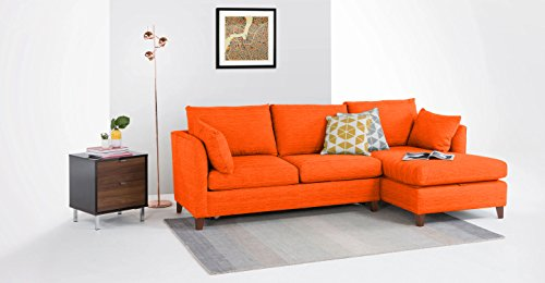 FabHomeDecor Farina FHD707 Three Seater Sofa (Orange)