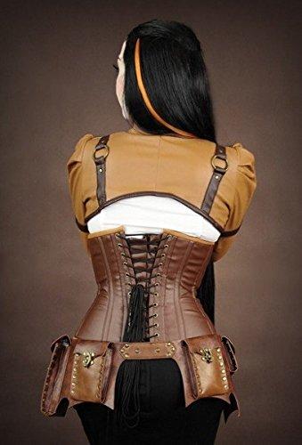 Steampunk cintura con 4tasche Festival Vintage cintura borsa in ecopelle–colori assortiti Marrone