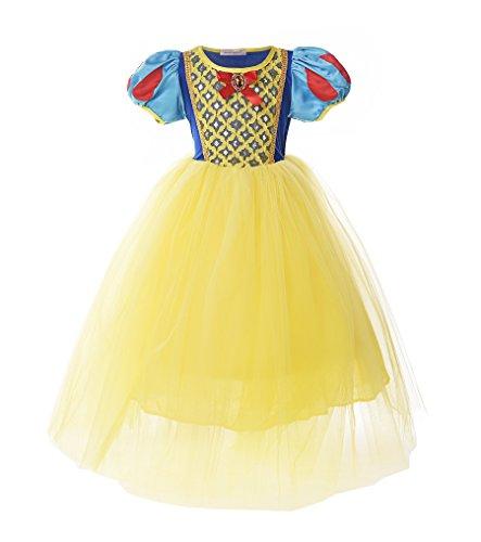 en Schneewittchen Prinzessin Kostüm Kleid für Weihnachten (6, Gelb) ()