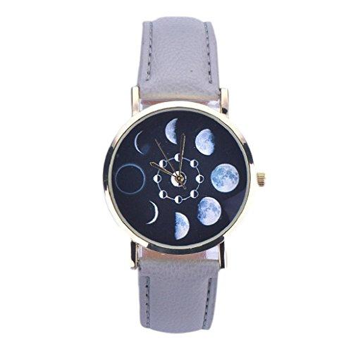 Sannysis® Mujeres Lunar Eclipse Modelo de cuero de cuarzo analógico reloj de pulsera Gris