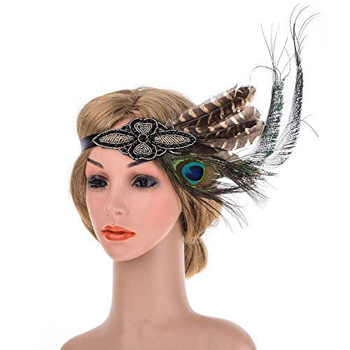 Crystal Crown Women 's 1920 \u0026 rsquo; s Flapper Headpiece Feder Perlen Stirnband Braut für Party Prom Hochzeit Schmuck Great Gatsby Zubehör Haarschmuck (Farbe: A)