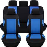 Hamimelon Universal Auto Autositzabdeckung Autositzbezuege KFZ PKW Sitzbezuege Schonbezuege Bezug Sitzschoner Sitzschutz Schutz Komplettset Blau Kurve