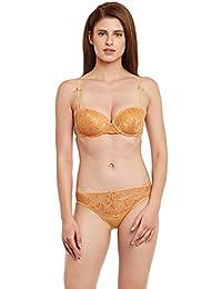 aa482f0d9f SECRETT CURVES Oak Buff Molded Cup Underwired Lace Bra   Panty Set for Women