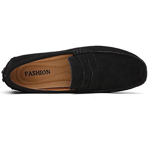 Herren Klassische Mokassin Lederschuhe Bootsschuhe Flache Slippers Wildleder Loafers Fahren Halbschuhe Schwarz