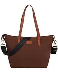 ECOSUSI Nylon Tote Bag Shoulder Bag - Beach Bag Handbag Can Fit A4 Folder