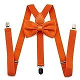 Elastische Hosenträger Y-Back Hosenträger einstellbar mit starken Clips Fliege und Hosenträger-Set Mode Accessoire für Männer und Frauen (Orange)