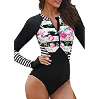 1edd34066 Socluer De las Mujeres De Colores Manga Larga Una Pieza Swimwear Sunproof  Secado Rápido Traje de