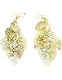 Damen Retro böhmischen Perlen Quaste Gold Blatt-Design Ohrringe Ohrstecker