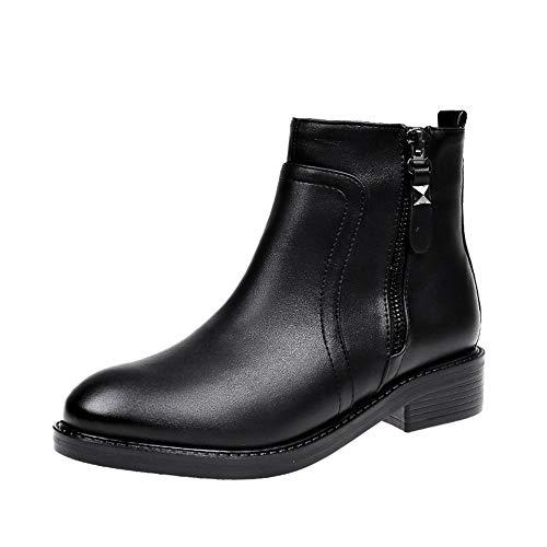 MYMYG Stiefeletten Damen Feste Winter warme reißverschluss Stiefel Runde Spitze Schuhe Runde Zehe Flach Leder Stiefel PU-Leder Kurze Stiefel Chelsea Boots