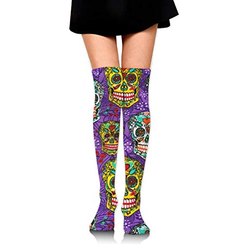 HRTSHRTE Halloween Sugar Skull Colorful Ankle Stockings Over The Knee Sexy Womens Sports Athletic Soccer Socks (Halloween Skull Für Sugar)