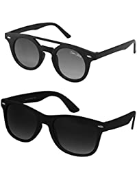 Silver Kartz Black & Black Dark Wayfarer Combo Sunglasses