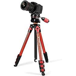 Fotopro S3-BR trépied de Voyage,56.89 Pouces trepied Appareil Photo en Aluminium 4 Sections pour Canon Nikon Sony, Capacité Max: 2.6 kg, Rouge