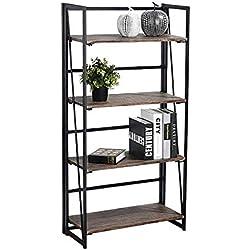coavas Estantería Librería Organizador Plegable de Metal Efecto Madera Diseño Industrial para Almacenamiento o Decoración (125cm x 60cm x 30 cm)