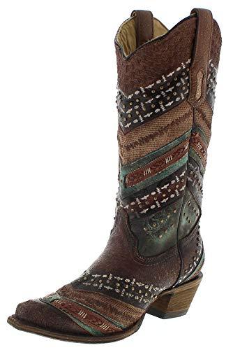 Corral Boots Damen Cowboy Stiefel A3381 Lederstiefel Braun Türkis 38.5 EU