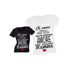 Idea Regalo - T-Shirt Donna Maglietta Nera Personalizzata Gli Amori della Mia Vita Maglia Femminile Estiva Idea Regalo per la Festa della Mamma - XL
