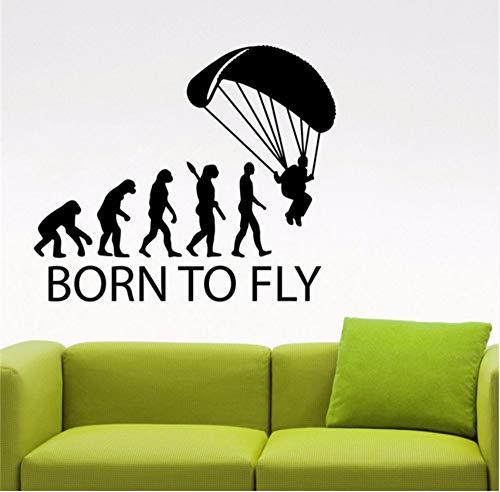 Preisvergleich Produktbild ykxykw Sticker Born to Fly Skydive Fallschirmspringen Aufkleber Home Interior Design Extremsport Dekorationen Abnehmbare Dekor Vinyl Wandaufkleber 58 X 68 cm