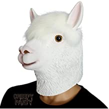 CreepyParty Deluxe Novità Halloween Costume Festa Latex Animale Testa Maschera Alpaca