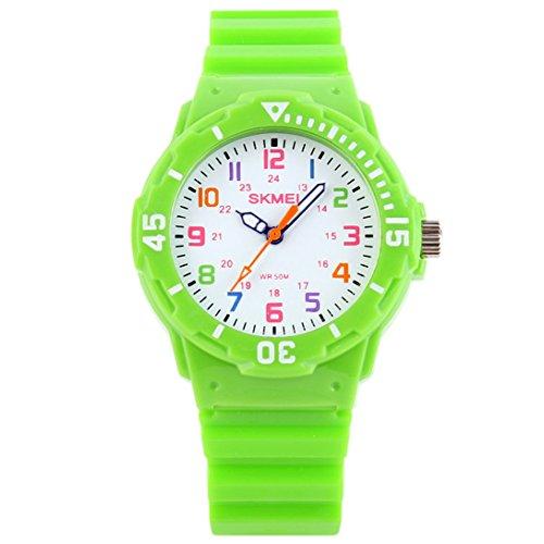 Panegy Unisex Kinderuhr Fashion Stil Digitaluhr Analog Quarzuhr Outdoor Armbanduhr Wasserdichte Sportuhr Multifunktionelle Uhren-Grün