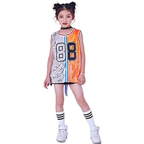 Tanz Kostüm Erwägungsgrund - Mädchen Pailletten Kostüm Hip Hop Jazz Dancewear Sparkle ärmelloses Tank-Top-Kleid (Silber & Orange, 164)