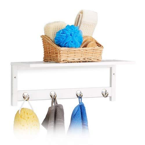 Relaxdays Wandregal mit 4 Haken, HxBxT: 17,5 x 50 x 16 cm, Bambus, Handtuchhalter, Wandgarderobe, freischwebend, weiß (Badezimmer Regal Mit Handtuchhalter Haken)