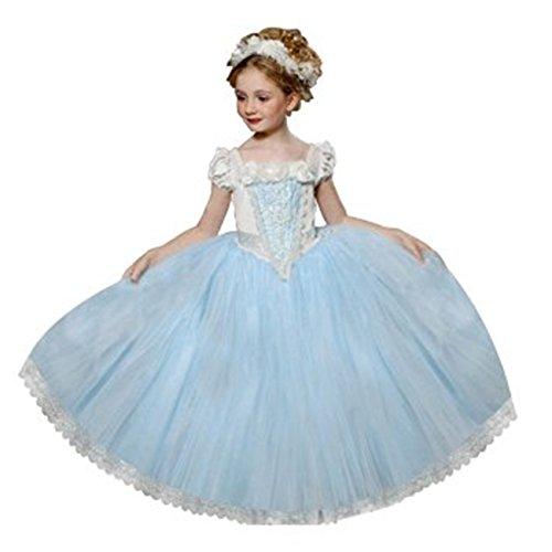 Ninimour Mächen Eiskönigin Eiskönigin Prinzessin Cosplay Fasching Kostüm Tutu Kleid 3-8 Jahre Alt (140, ZZZZ-Blau)