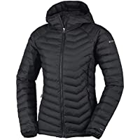 Columbia Chaqueta Impermeable con Capucha para Mujer, Powder Lite Hooded, Negro (Black), L