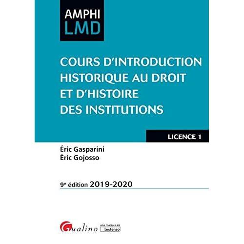 Cours d'introduction historique au droit et histoire des institutions