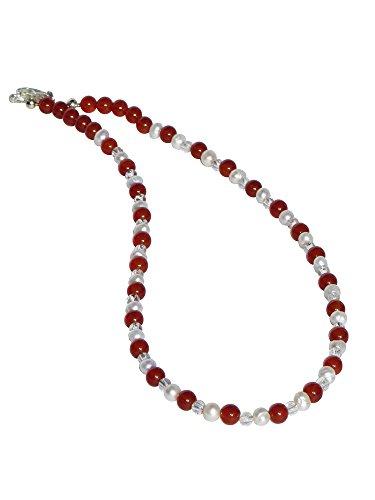 Edelsteinmandel-König Piedras Preciosas de Abeto Noble Cadena de ágata, Cristal de Roca y Perlas de Agua Dulce Blancas. L.: Aprox. 47 cm.