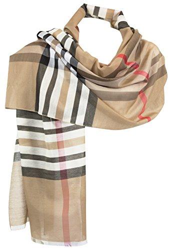 RW Fashion, donne ha rubato la sciarpa - , seta - viscosa, beige - scacchi, SVK243