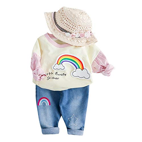 Poachers Poachers Kleinkind Kinder Baby Mädchen Rainbow Print T-Shirt Tops Jeans Hosen Outfits Set(Keine Tasche und der Hut)