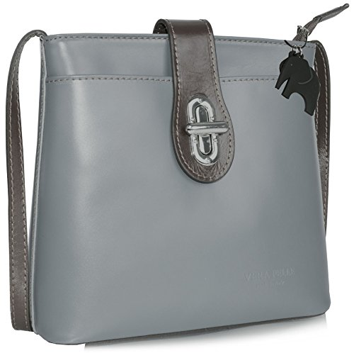 Big Handbag Shop ,  Damen Umhängetaschen Grey - Brown Trim (BH456)