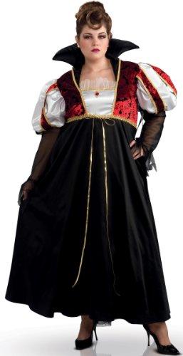 Schwarze Kostüm Fee Übergröße - KULTFAKTOR GmbH Vampir Königin Halloween Kostüm übergröße schwarz-Weiss-rot XXL