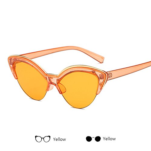 ZHANGYUSEN Fashion Half Frame Cat Eye Sun Glasses Women Retro Designer Sunglasses Men Eyeglasses Female Ladies,Yellow