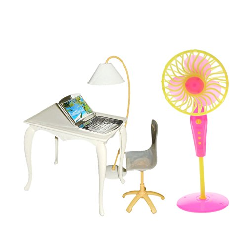 Möbel Fan (Baoblaze 5-teilig 1/6 Puppenstuben Büro Arbeitzimmer Möbel Set - Miniatur Bürostuhl + Tisch + Computer + Lampe + Bodenventilator)