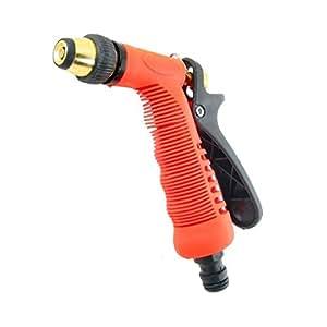 Baye High Pressure Multi Function Water Jet Nozzle Hose Brass Alloy Metal Ideal Garden Watering Tool (Orange)