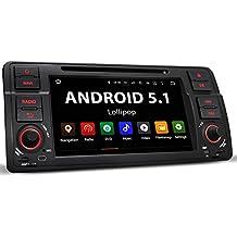 """BMW-E46A BMW 3er Touring / Android 5.1 radio de coche / Moniceiver reproductor multimedia / naviceiver con GPS + con NAVIGATION online App + soporte WIFI + Bluetooth manos libres + 7 """"/ 18 cm visualización de la pantalla táctil + HD + DVD y CD + 4 puerto USB 2TB+ tarjeta de memoria Micro SD ranura 128GB + MPEG4, MP3, WMA, AVI, DivX, etc + conexiones: subwoofer, cámara de vista trasera y control remoto del volante + Doble DIN (2-DIN) + incluyendo antena GPS"""
