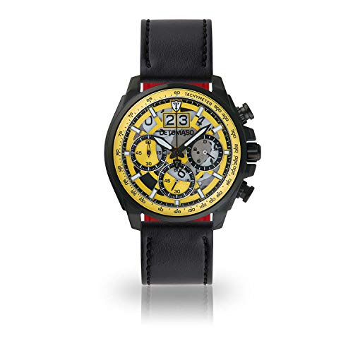 DETOMASO LIVELLO DT2060-A-899 - Reloj de Pulsera para Hombre, cronógrafo, analógico, Cuarzo, Correa de Piel Negra, Esfera Amarilla